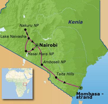 routekaartje Familiereis Kenia Comfort-Plus