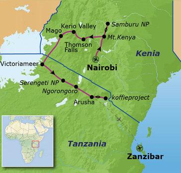Route Kenia, Tanzania en Zanzibar, 23 dagen
