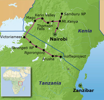 Route Kenia en Tanzania, 23 dagen