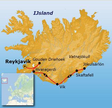 routekaartje Rondreis IJsland Winter