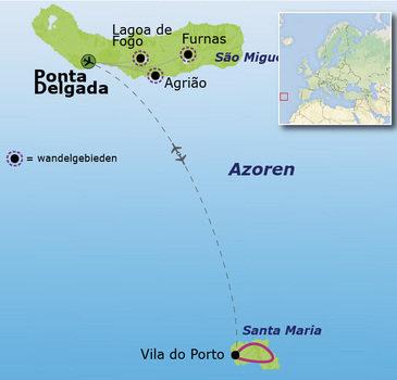 routekaartje Familiereis Azoren