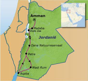 routekaartje Familiereis Jordanië