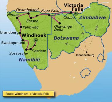 routekaartje Familiereis Namibië, Botswana en Zimbabwe