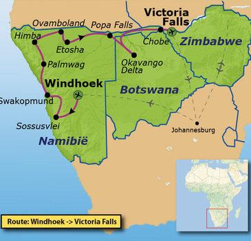 Route Windhoek - Victoria Falls, 22 dagen