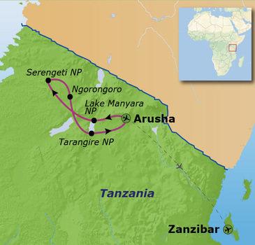 Route Tanzania en Zanzibar, 16 dagen