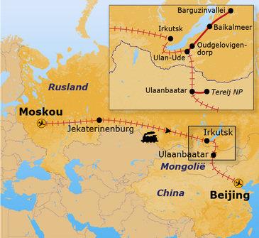 routekaartje Rondreis Trans-Siberië Expres