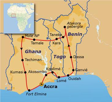Route Ghana, Togo en Benin, 21 dagen