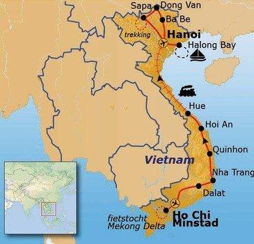 Route Vietnam t/m maart 2019, 29 dagen