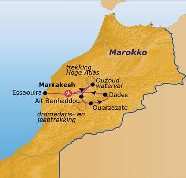 Route Jongerenreis Marokko, 17 dagen