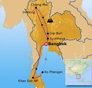 Route Jongerenreis Thailand, 22 dagen