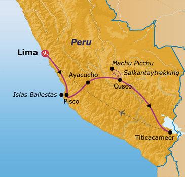 Route Jongerenreis Peru, 22 dagen