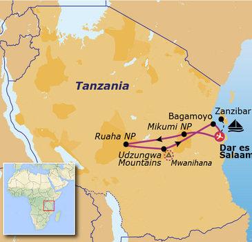 Route Jongerenreis Tanzania, 21 dagen