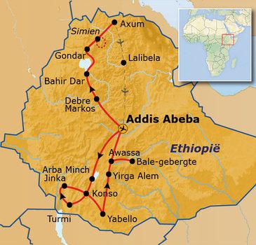 Standaard route Ethiopië, 29 dagen