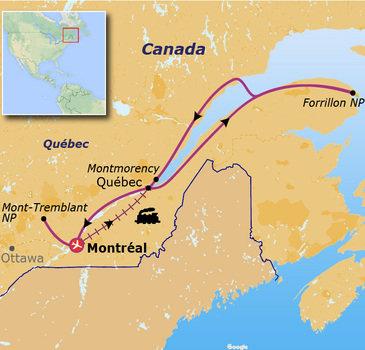 Route jongerenreis Canada, 19 dagen