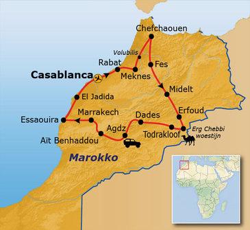 routekaartje Groepsrondreis Marokko Totaal