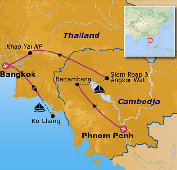 Route Jongerenreis Cambodja en Thailand, 20 dagen