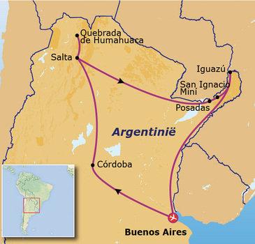 routekaartje Rondreis Argentinië Go-26