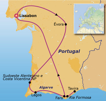 Route Jongerenreis door Portugal, 15 dagen