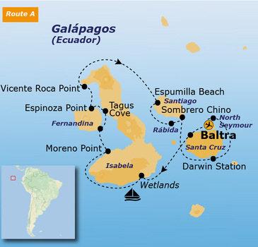 routekaartje Groepsrondreis Galapagoseilanden