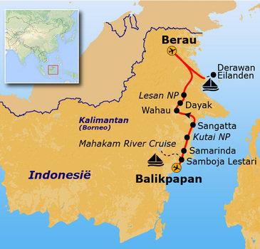 routekaartje Rondreis Kalimantan