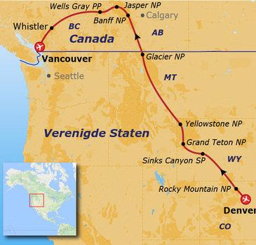 Route Canada en VS, 20 dagen