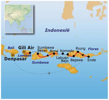 Route Kleine Sunda Eilanden