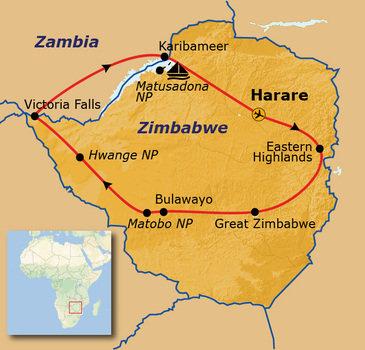 Reisroute Zimbabwe, 22 dagen