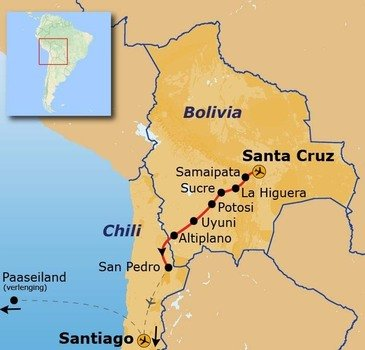 routekaartje Groepsrondreis Bolivia en Chili