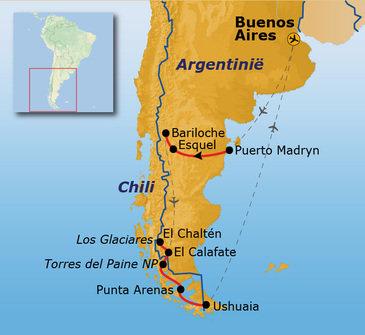 Standaard route Patagonië