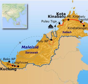 routekaartje Rondreis Maleisisch Borneo