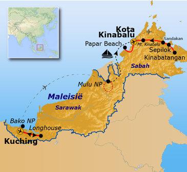 Route Maleisisch Borneo, 23 dagen