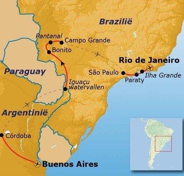 routekaartje Rondreis Argentinië en Brazilië