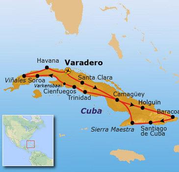 Reisroute Cuba 23 dagen