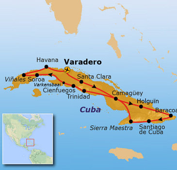 routekaartje Rondreis Cuba - Casas Particulares