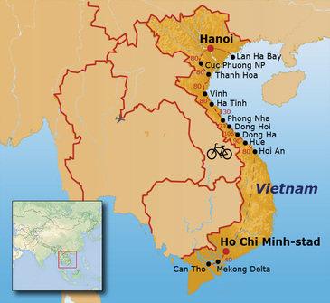 routekaartje Fietsvakantie Vietnam (hotel)