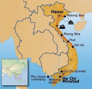Route Vietnam reis, 16 dagen