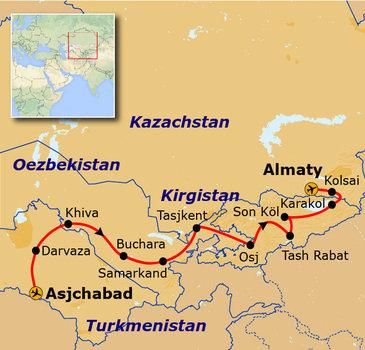 Route Korte Zijderoute, 24 dagen