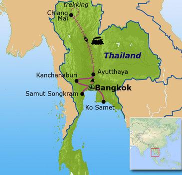 routekaartje Familiereis Thailand Voorjaar & Kerst