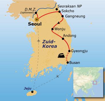 routekaartje Rondreis Zuid-Korea Hoogtepunten
