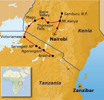 Route 2018 Kenia, Tanzania en Zanzibar, 21 dagen