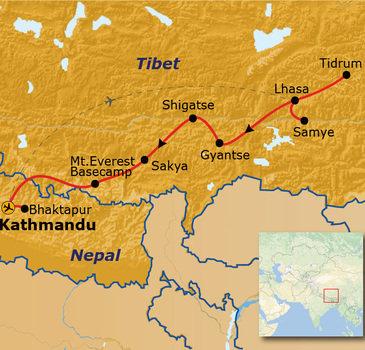 Route Tibet en Nepal, 23 dagen