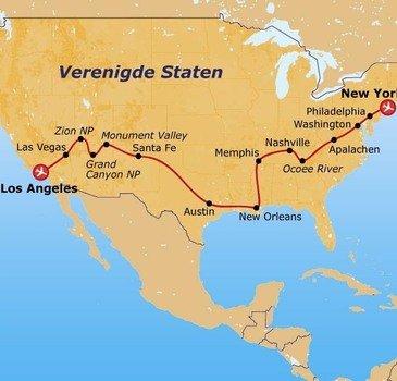 Route 21 daagse rondreis Verenigde Staten Trek America jongerenreizen