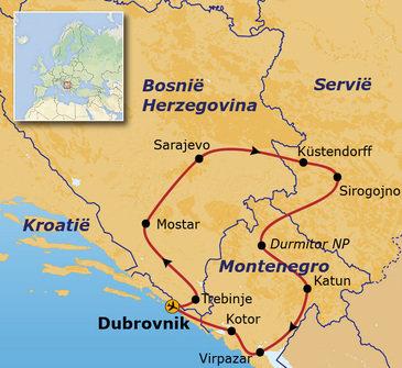 routekaartje Groepsrondreis Balkan