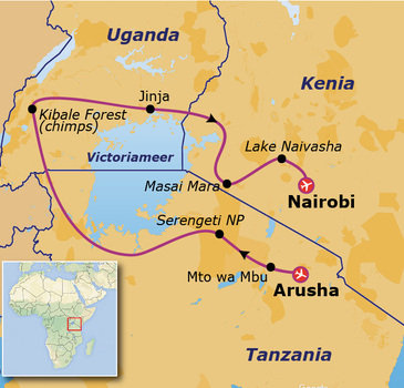 Route 17 daagse rondreis Tanzania - Oeganda - Kenia