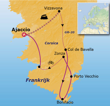 routekaartje Rondreis Frankrijk - Corsica Go-26