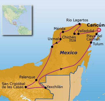 routekaartje Rondreis Mexico Go-26