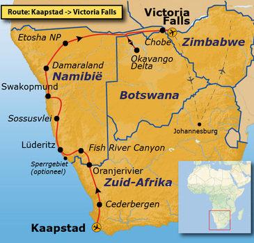 Route Kaapstad - Vic Falls, 27 dagen