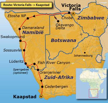 Route Vic Falls - Kaapstad, 27 dagen