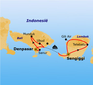 routekaartje Rondreis Bali en Lombok Hoogtepunten