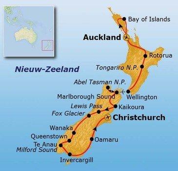 Route Nieuw-Zeeland 29 dagen